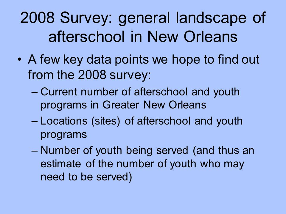 2008 Survey: general landscape of afterschool in New Orleans