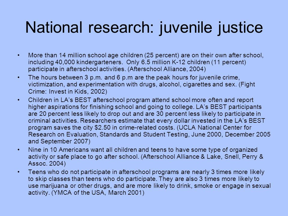 National research: juvenile justice