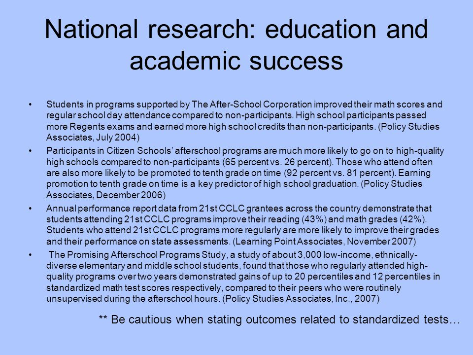 National research: education and academic success
