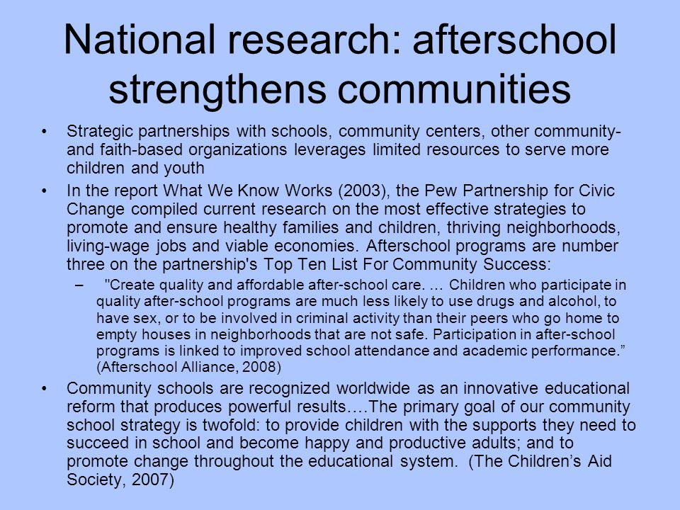 National research: afterschool strengthens communities