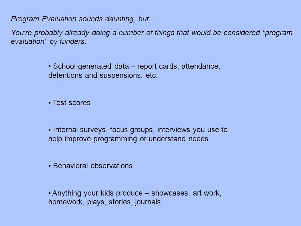 Program Evaluation sounds daunting, but….