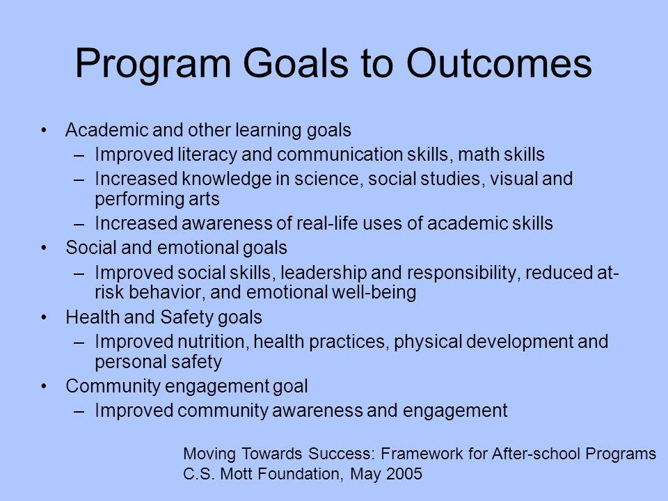 Program Goals to Outcomes