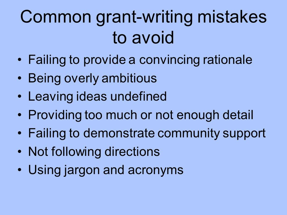 Common grant-writing mistakes to avoid