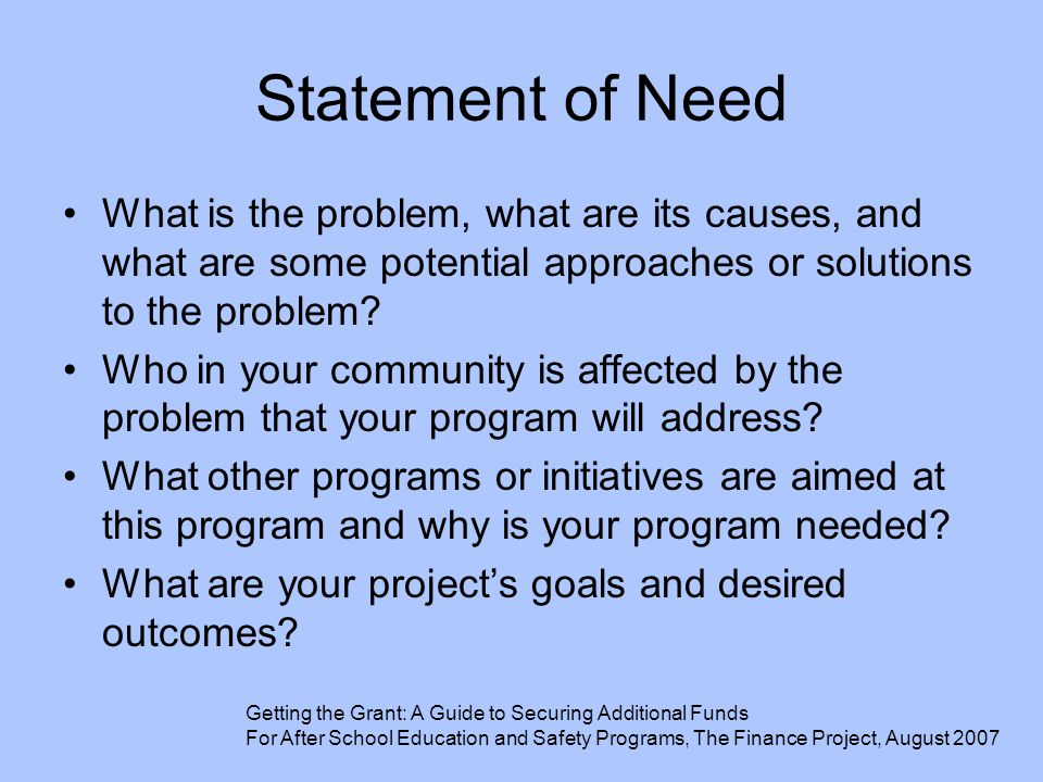 Statement of Need What is the problem, what are its causes, and what are some potential approaches or solutions to the problem