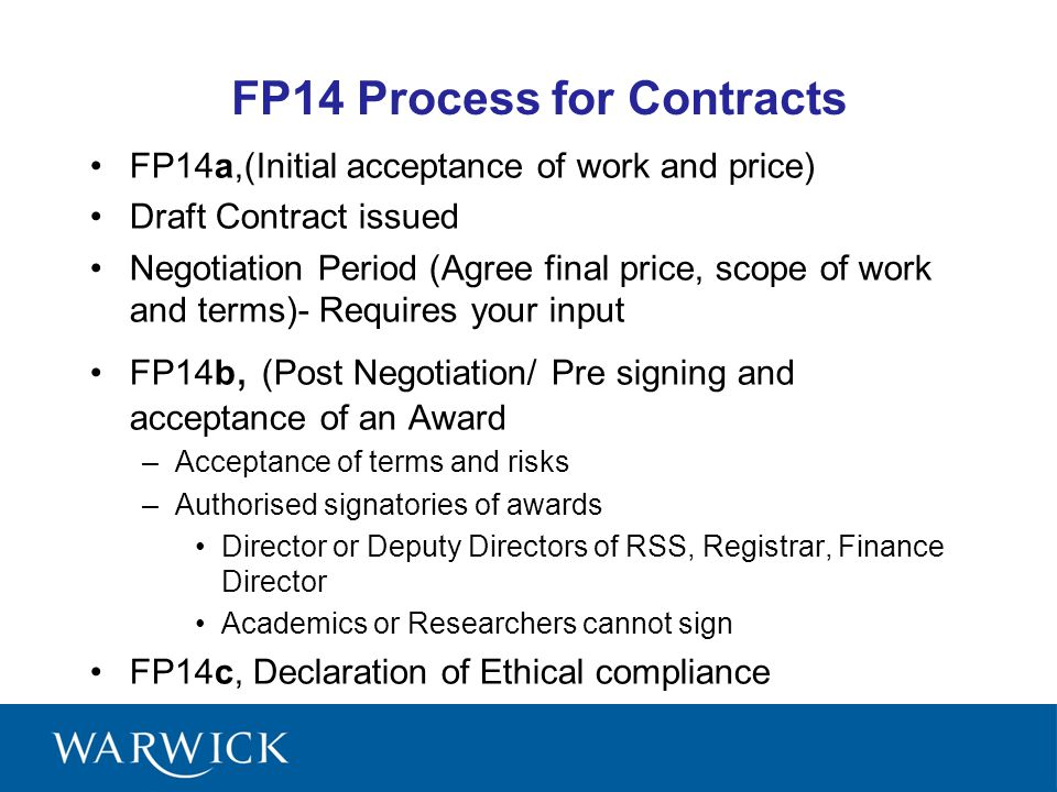FP14 Process for Contracts