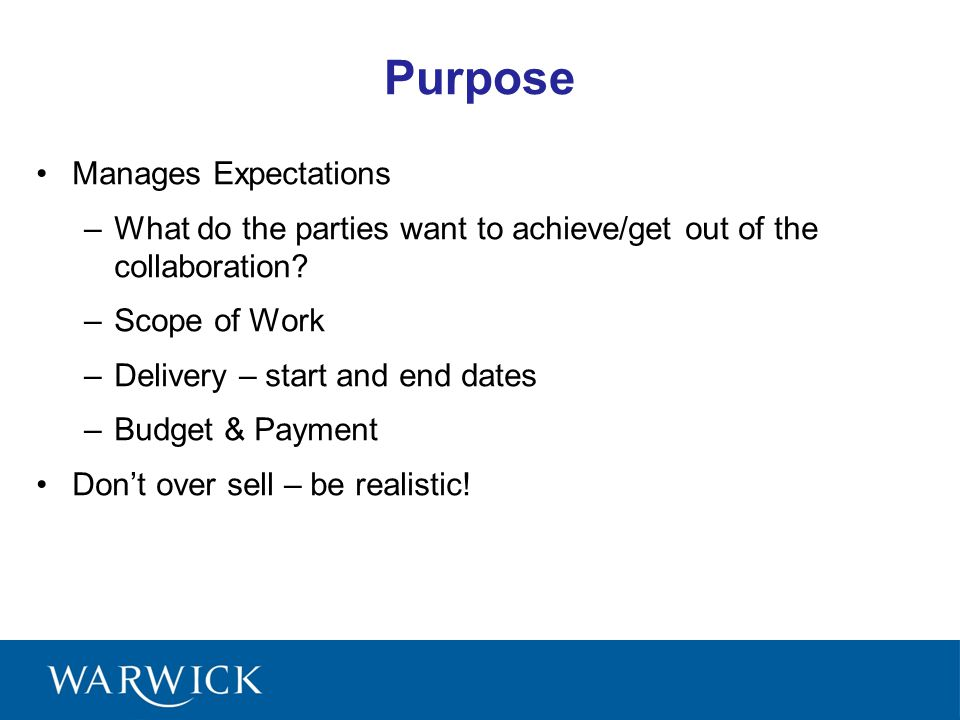 Purpose Manages Expectations