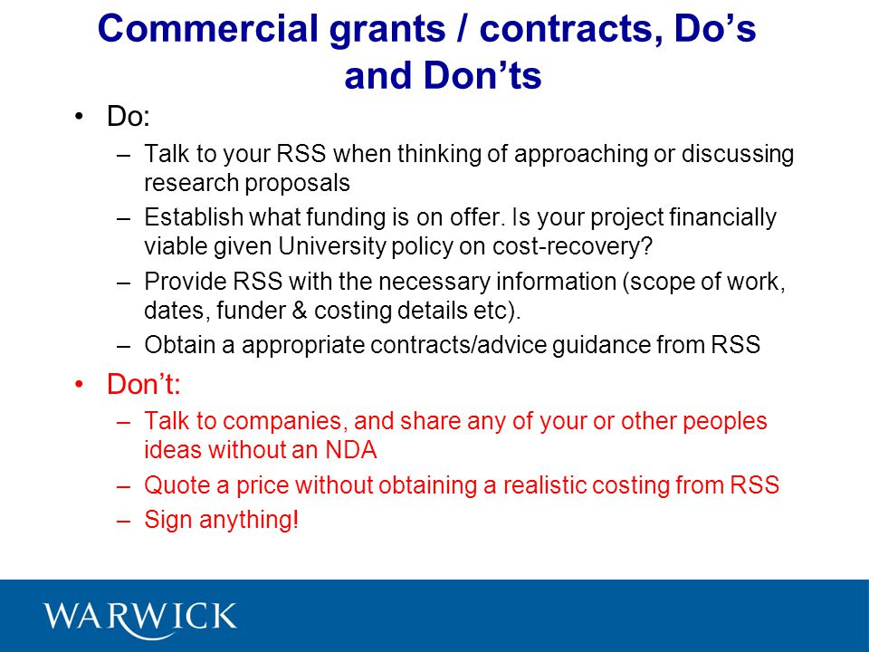 Commercial grants / contracts, Do's and Don'ts