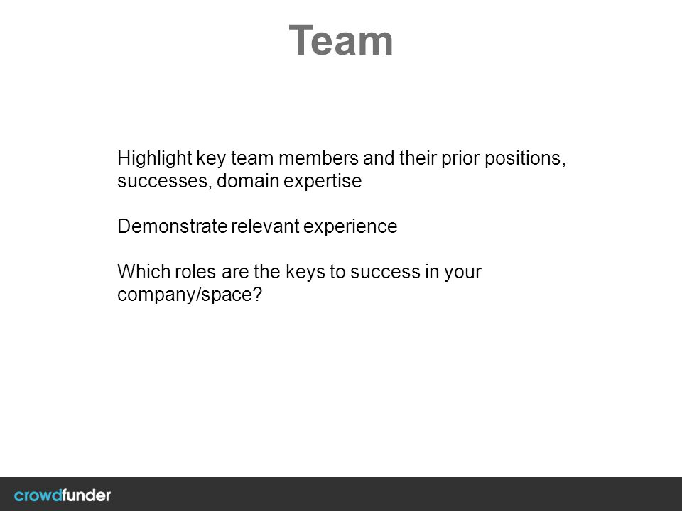 Team Highlight key team members and their prior positions, successes, domain expertise. Demonstrate relevant experience.