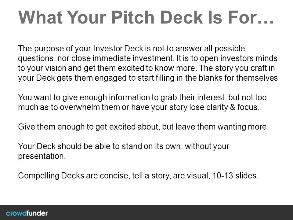 What Your Pitch Deck Is For…