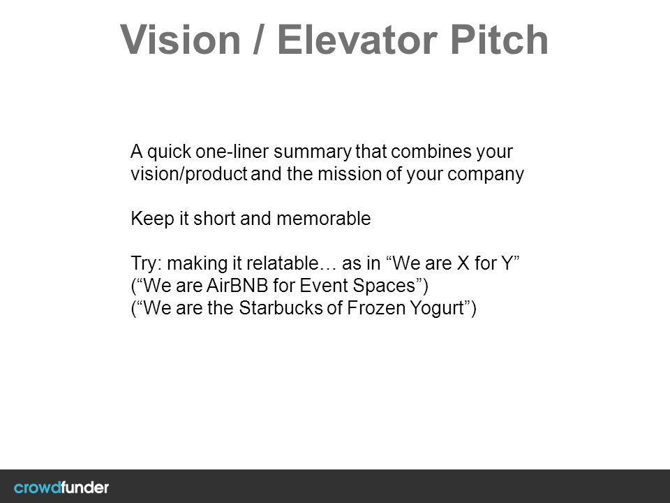 Vision / Elevator Pitch