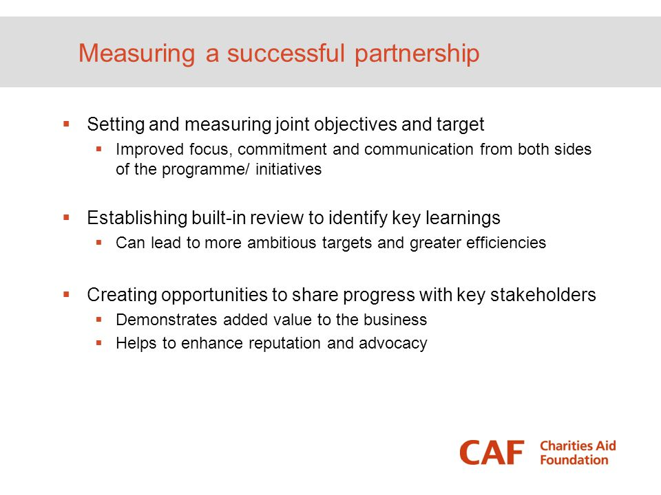 Measuring a successful partnership