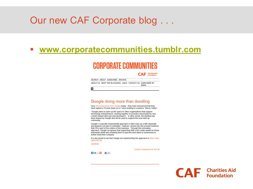 Our new CAF Corporate blog . . .