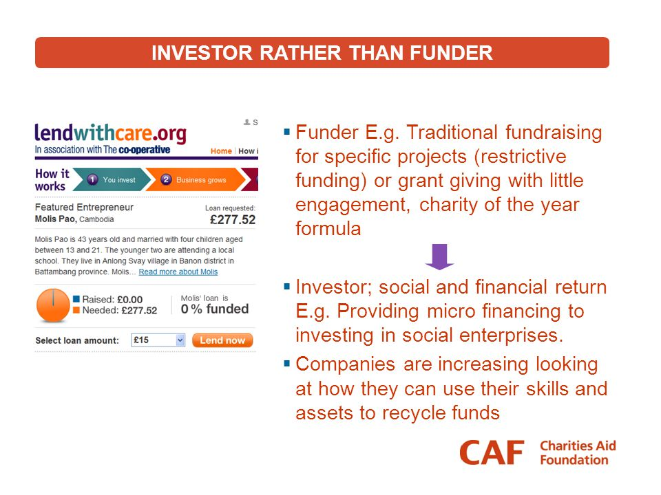 INVESTOR RATHER THAN FUNDER