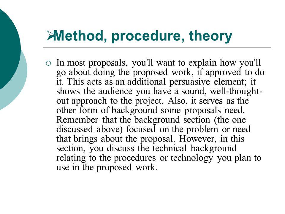 Method, procedure, theory