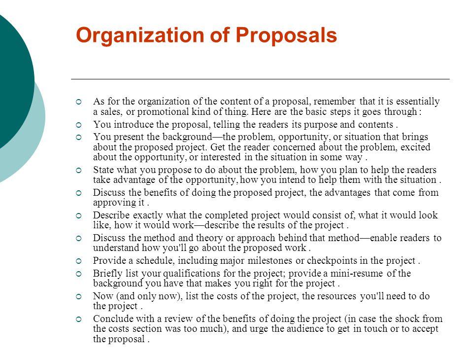 Organization of Proposals