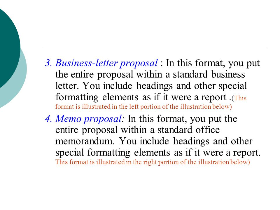 3. Business-letter proposal: In this format, you put the entire proposal within a standard business letter. You include headings and other special formatting elements as if it were a report. (This format is illustrated in the left portion of the illustration below)