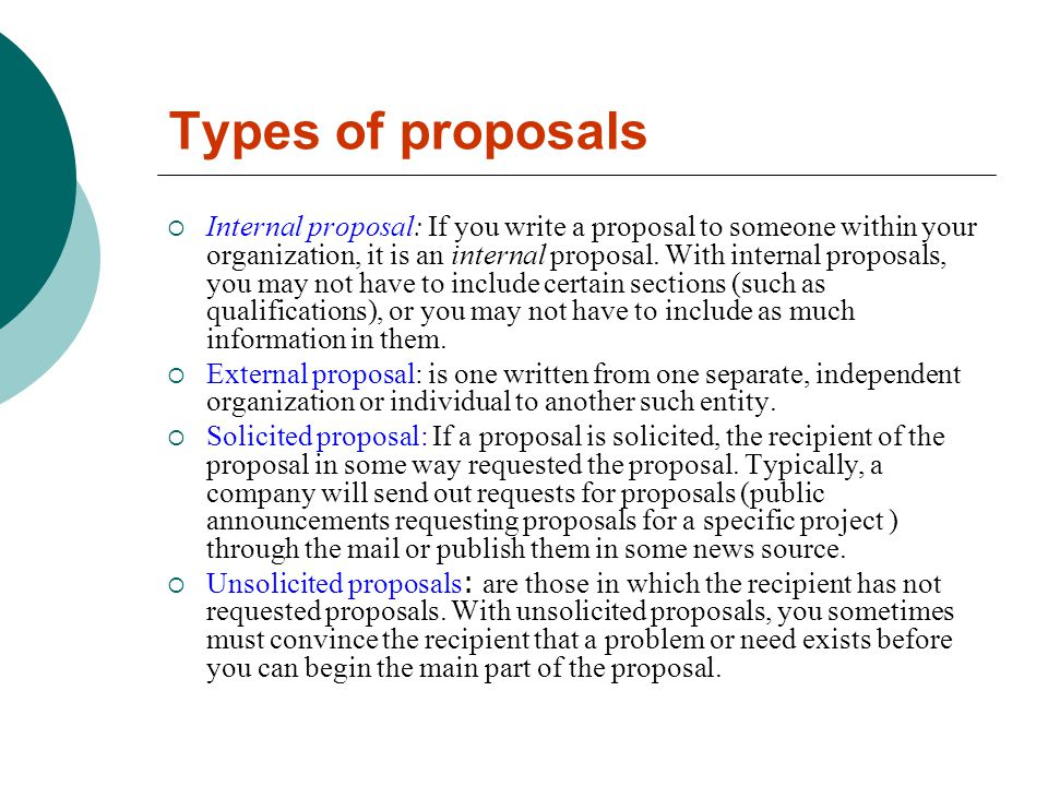 Types of proposal essay