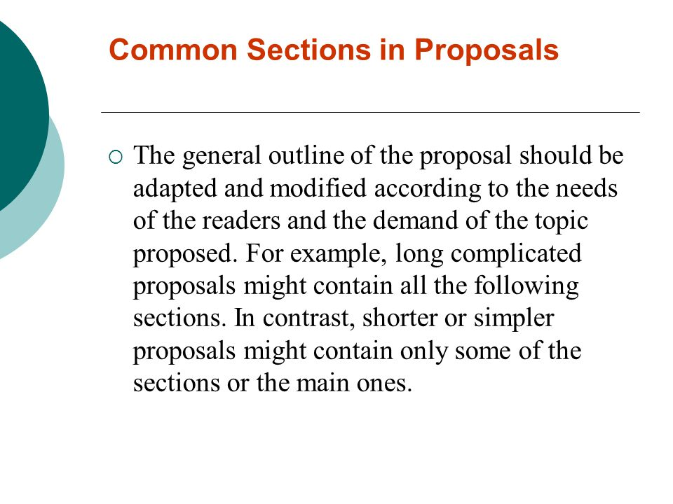 Common Sections in Proposals