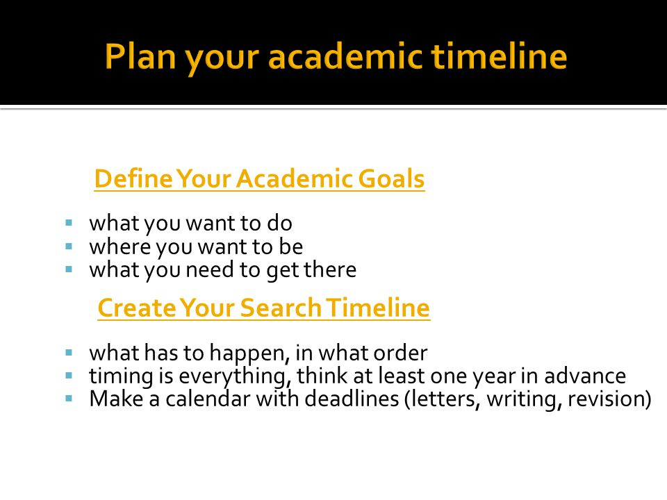 Plan your academic timeline