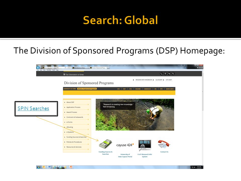 The Division of Sponsored Programs (DSP) Homepage:
