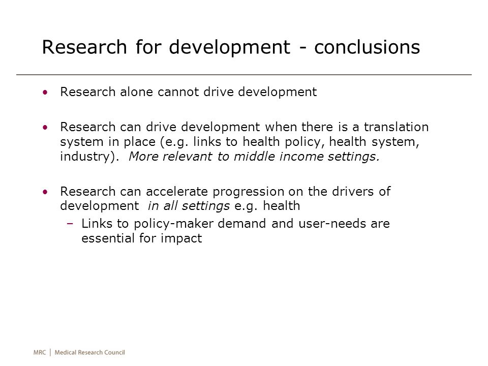 Research for development - conclusions