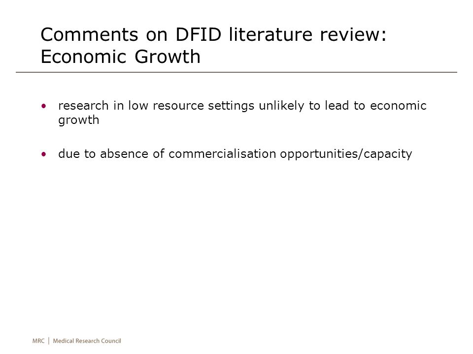 Comments on DFID literature review: Economic Growth