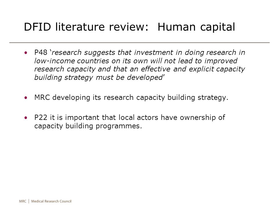 DFID literature review: Human capital