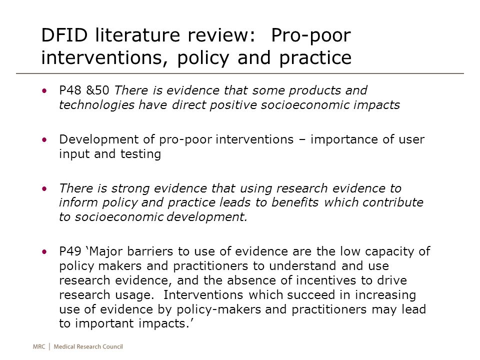 DFID literature review: Pro-poor interventions, policy and practice