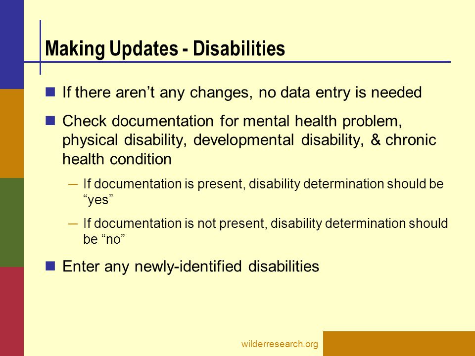 Making Updates - Disabilities