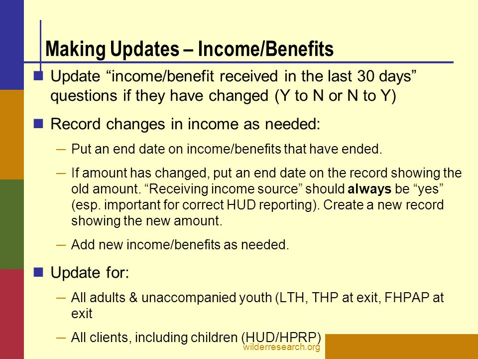 Making Updates – Income/Benefits