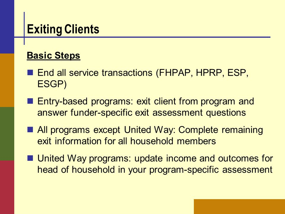 Exiting Clients Basic Steps