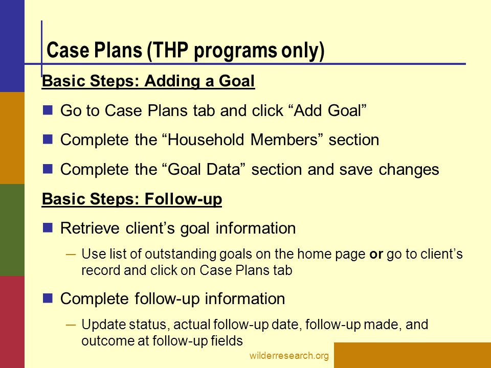 Case Plans (THP programs only)