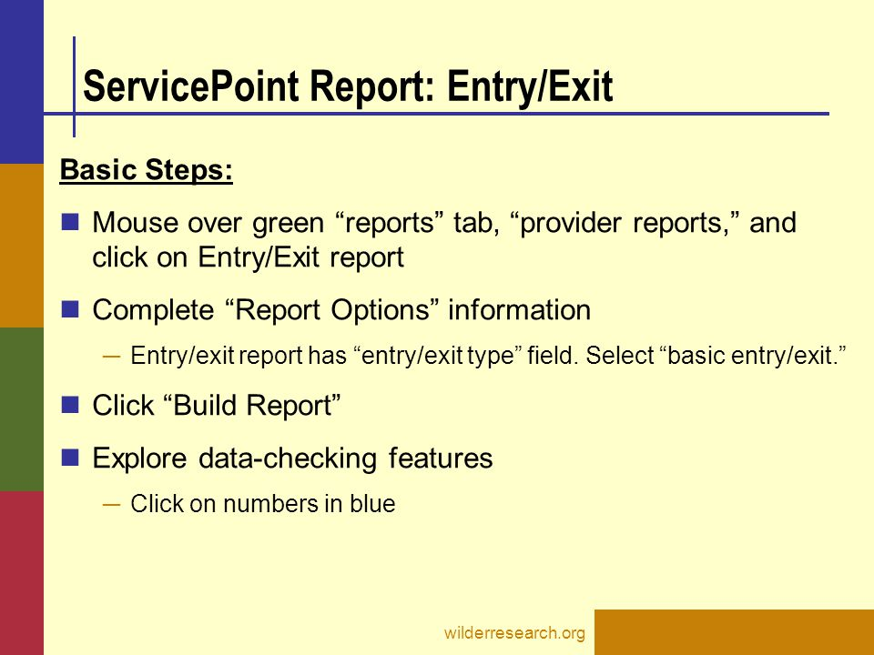 ServicePoint Report: Entry/Exit