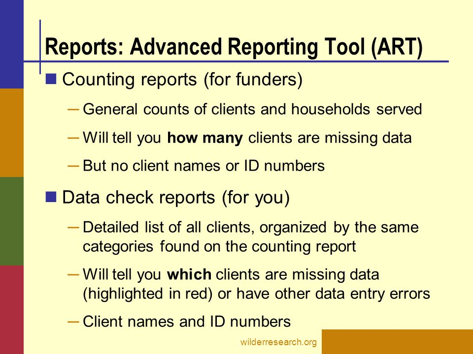 Reports: Advanced Reporting Tool (ART)