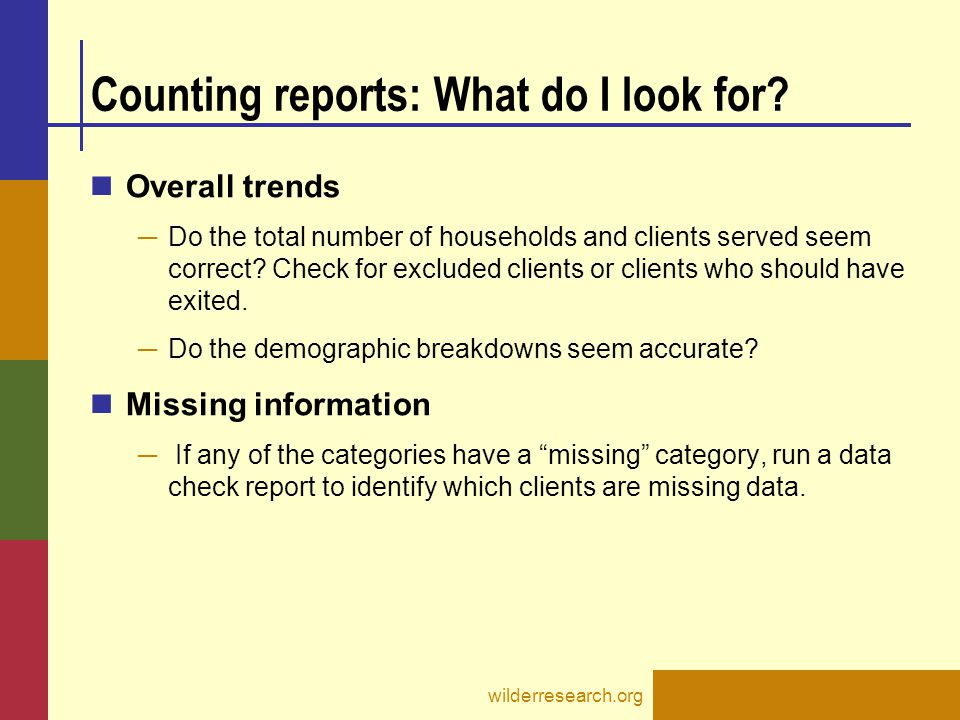 Counting reports: What do I look for