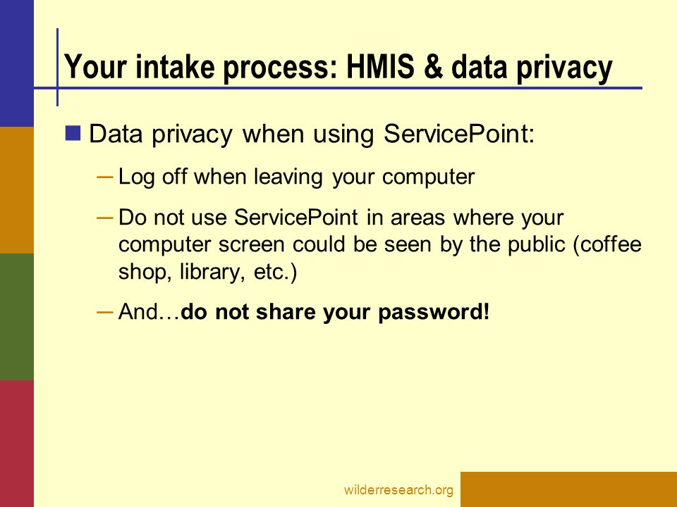 Your intake process: HMIS & data privacy
