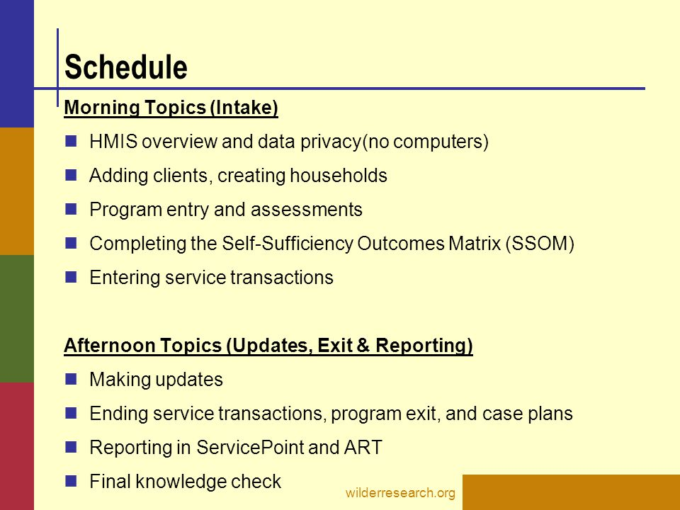 Schedule Morning Topics (Intake)