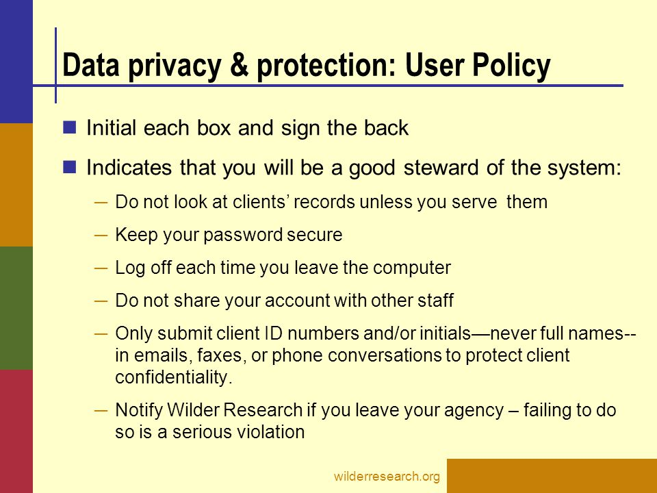 Data privacy & protection: User Policy