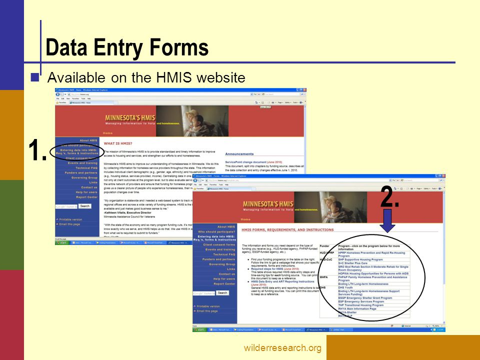 1. 2. Data Entry Forms Available on the HMIS website