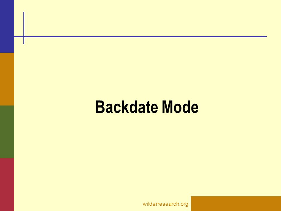 Backdate Mode wilderresearch.org