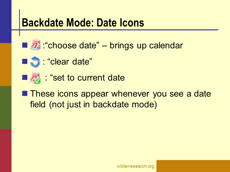Backdate Mode: Date Icons