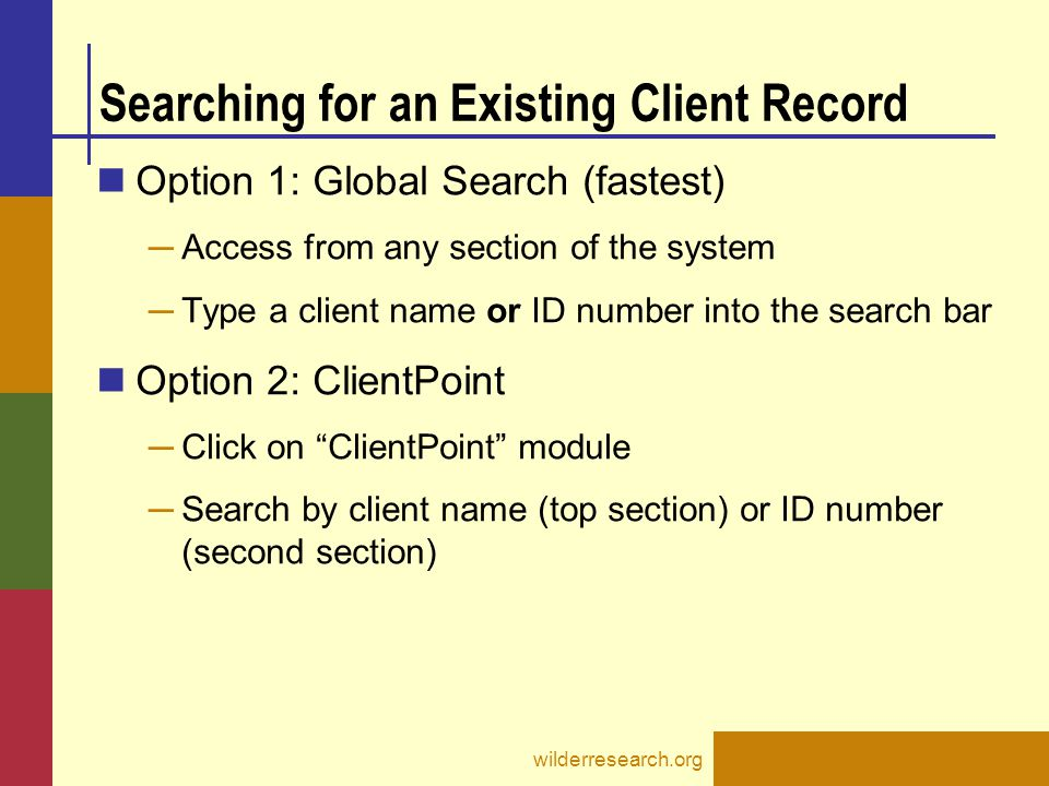 Searching for an Existing Client Record