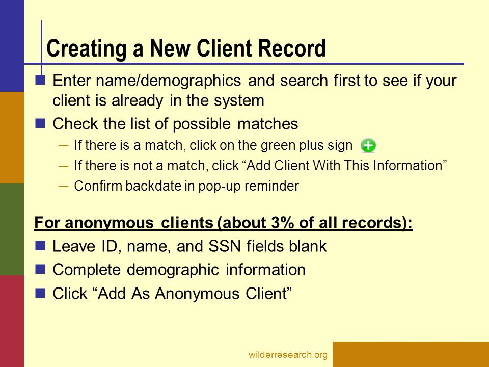Creating a New Client Record