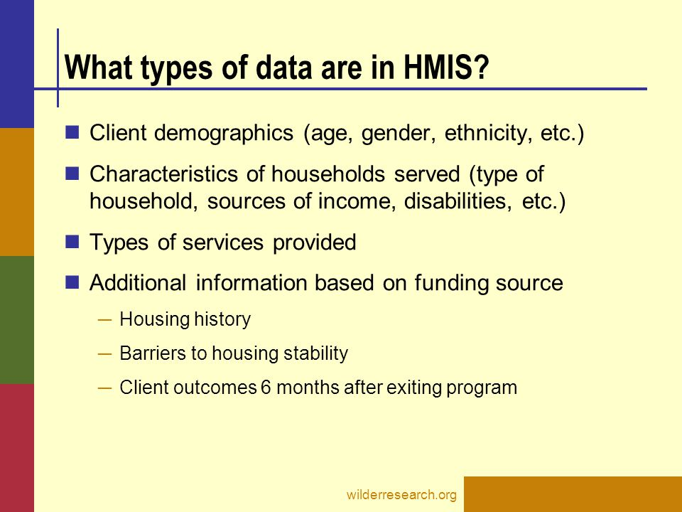 What types of data are in HMIS