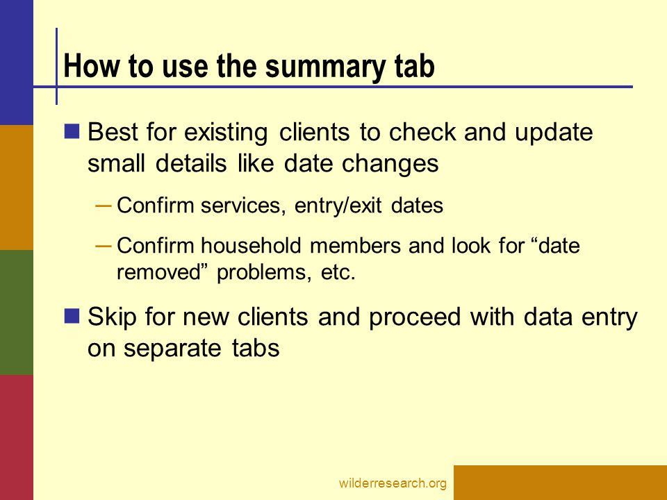 How to use the summary tab
