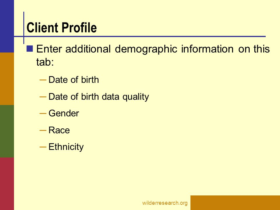 Client Profile Enter additional demographic information on this tab: