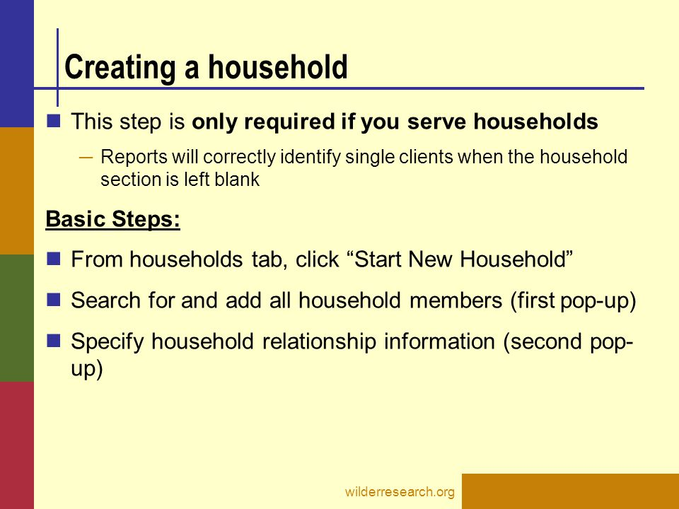 Creating a household This step is only required if you serve households.