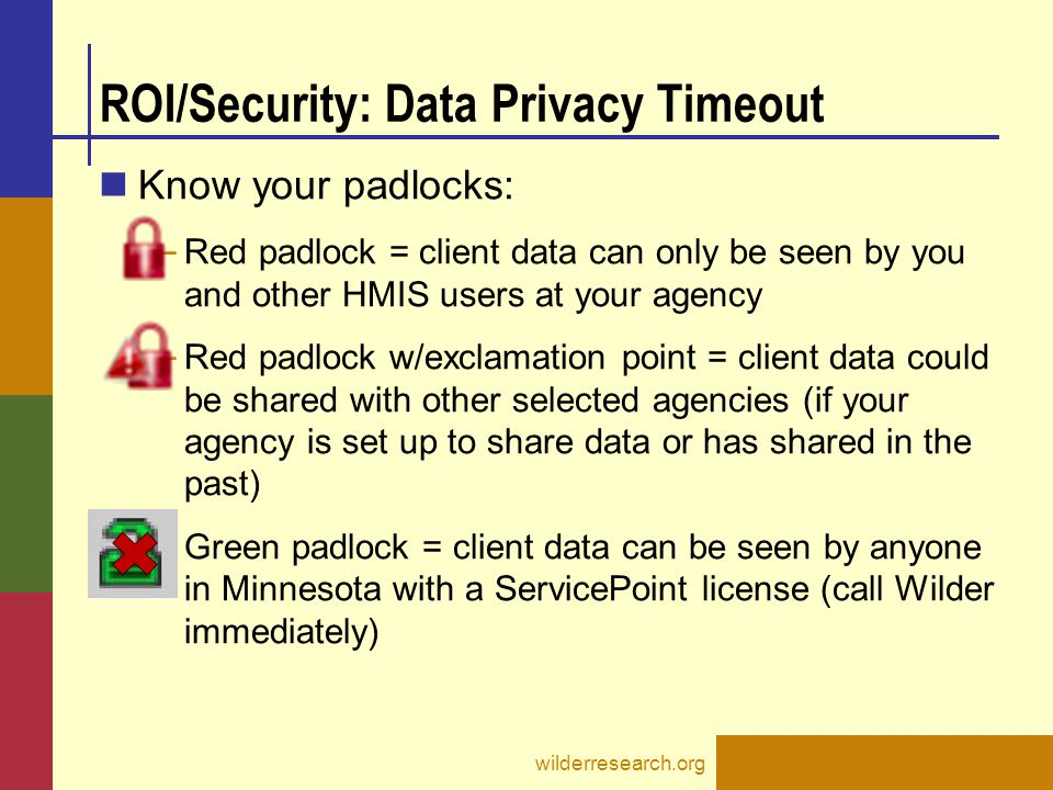 ROI/Security: Data Privacy Timeout