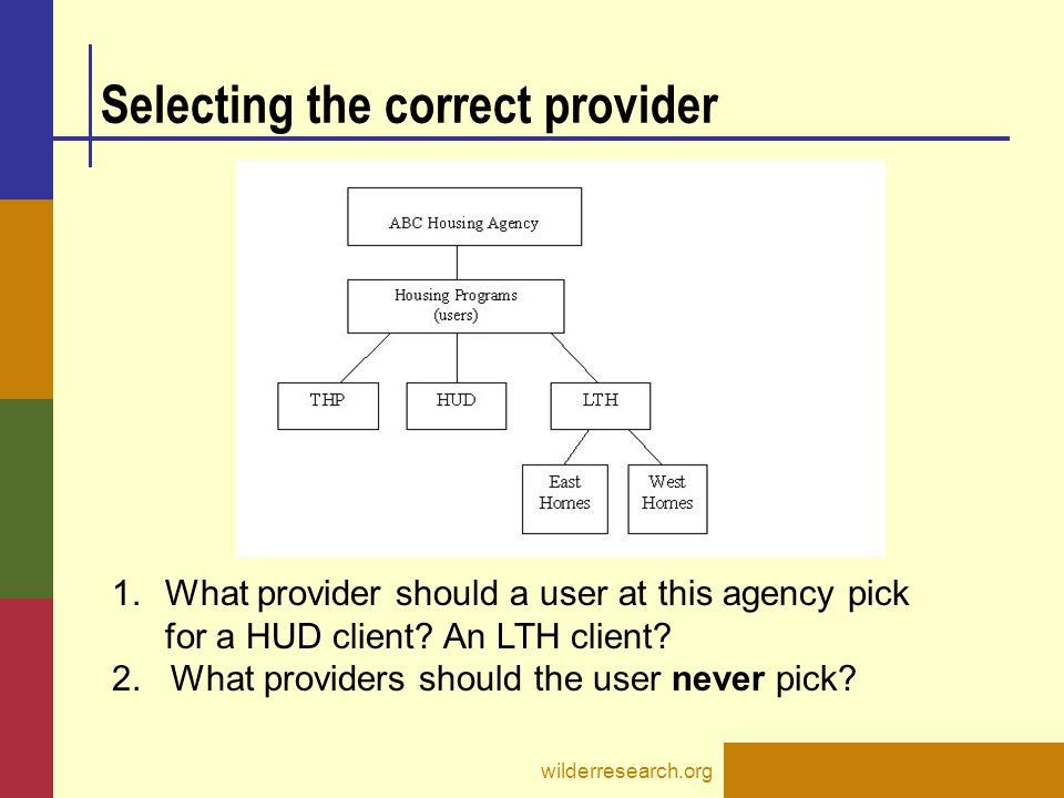 Selecting the correct provider