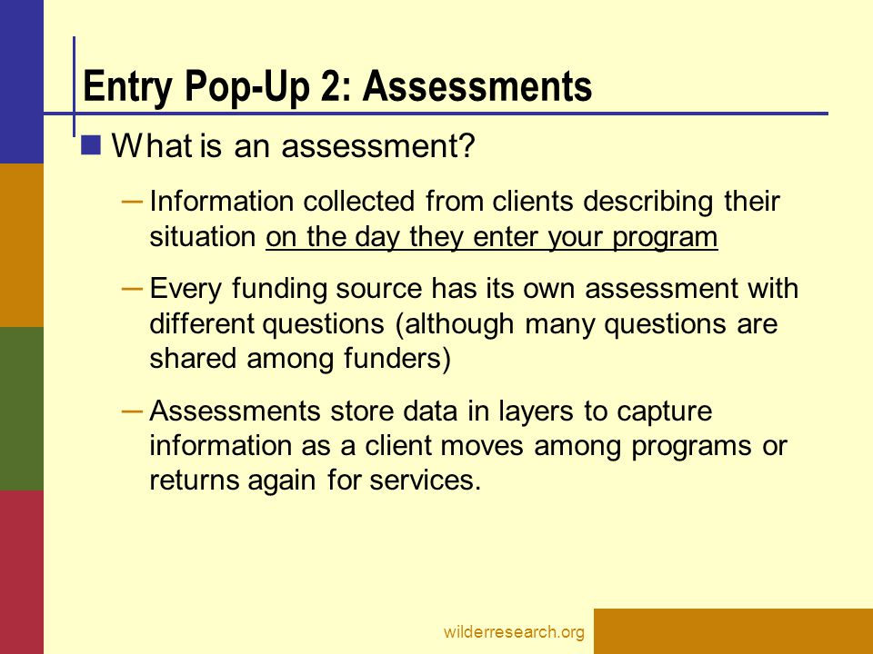 Entry Pop-Up 2: Assessments